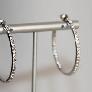 Givenchy Jewelry - Elegant Givenchy Polished Silver Crystal Earrings